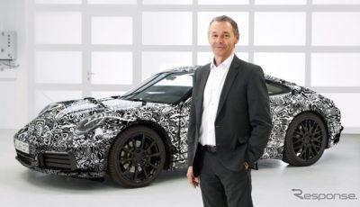 ポルシェ 911 次期型の開発プロトタイプ車と開発責任者のアウグスト・アッハライトナー氏