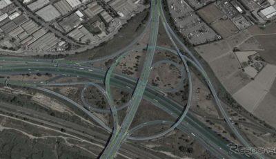 エヌビディアの自動運転車が地図上で自車位置を検知するシステムのイメージ