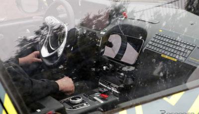 アストンマーティン DBX 開発車両 スクープ写真。メルセデス製と思われるパーツが随所に見られる