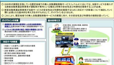 無人自動運転移動サービスを導入するバス・タクシー事業者のためのガイドラインの概要
