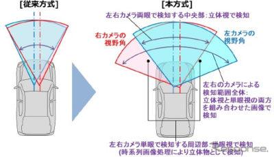 従来方式と本方式によるステレオカメラの検知範囲の違いについて