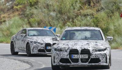 BMW M3セダン(手前)&M4クーペ(奥)新型プロトタイプ(スクープ写真)