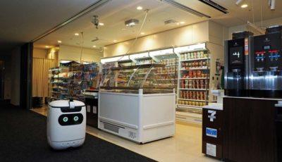 セブン-イレブンなど3社がソフトバックのオフィスで、セブン-イレブンからの配送実験を自律走行ロボットで開始した