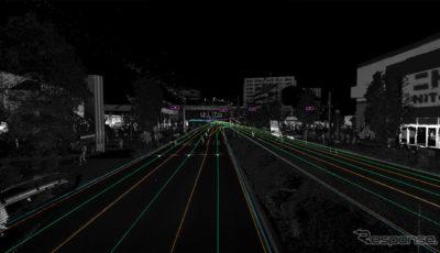 東京都内の環状8号線で、収集したデータにガイド線を反映させた例、信号機の存在や交差点でのガイド線誘導がわかる
